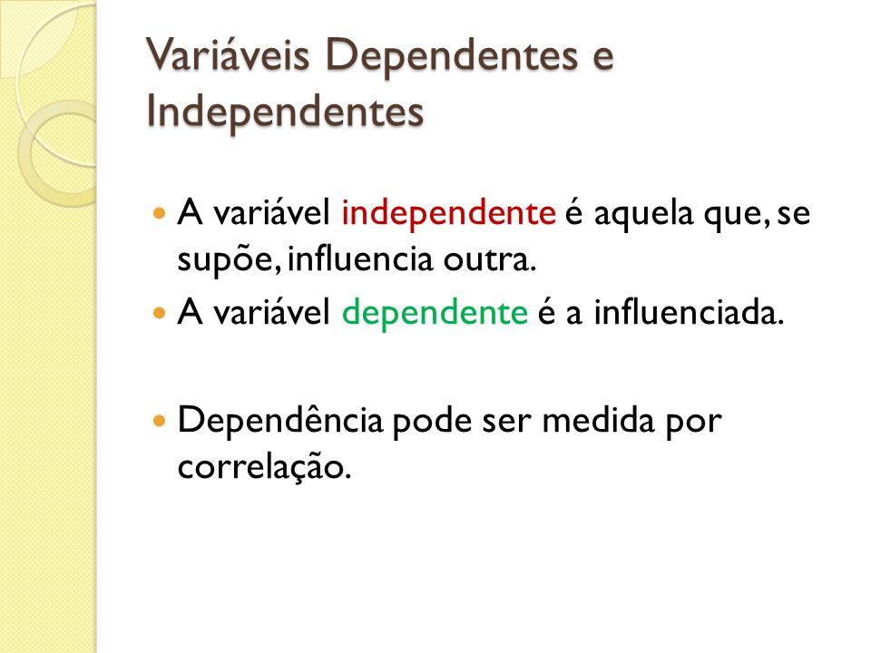 Variáveis Dependentes e Independentes A variável independente é aquela que, se supõe, influencia outra. A variável dependente é a influenciada. Depend