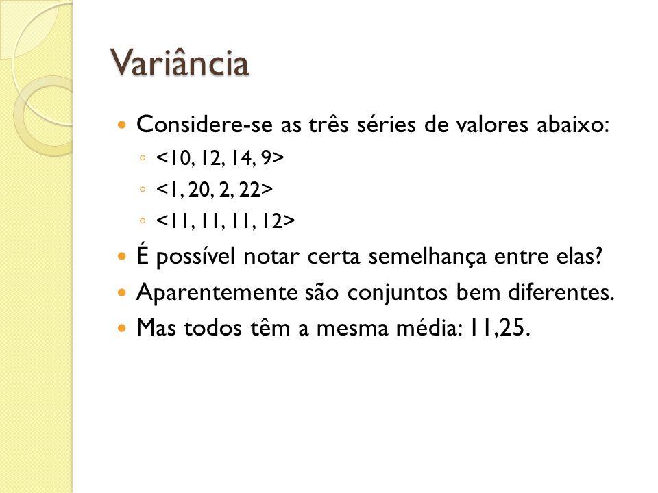 Variância Considere-se as três séries de valores abaixo: É possível notar certa semelhança entre elas? Aparentemente são conjuntos bem diferentes. Mas