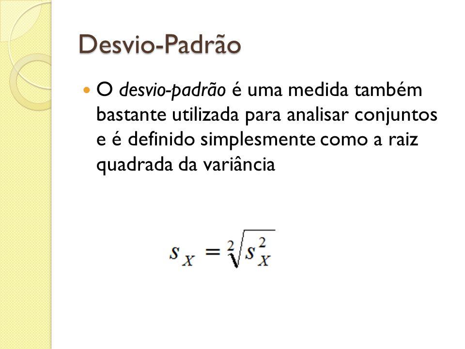 Desvio-Padrão O desvio-padrão é uma medida também bastante utilizada para analisar conjuntos e é definido simplesmente como a raiz quadrada da variânc