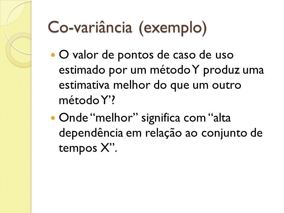 Co-variância (exemplo) O valor de pontos de caso de uso estimado por um método Y produz uma estimativa melhor do que um outro método Y? Onde melhor si