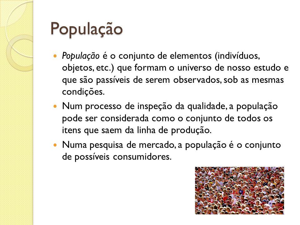 População População é o conjunto de elementos (indivíduos, objetos, etc.) que formam o universo de nosso estudo e que são passíveis de serem observado