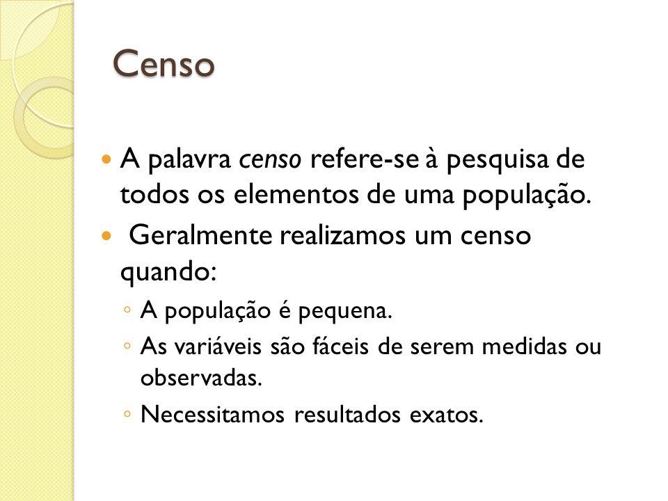 Censo A palavra censo refere-se à pesquisa de todos os elementos de uma população. Geralmente realizamos um censo quando: A população é pequena. As va