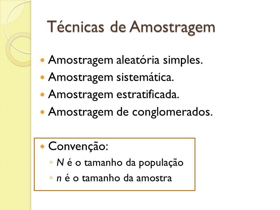 Técnicas de Amostragem Amostragem aleatória simples. Amostragem sistemática. Amostragem estratificada. Amostragem de conglomerados. Convenção: N é o t
