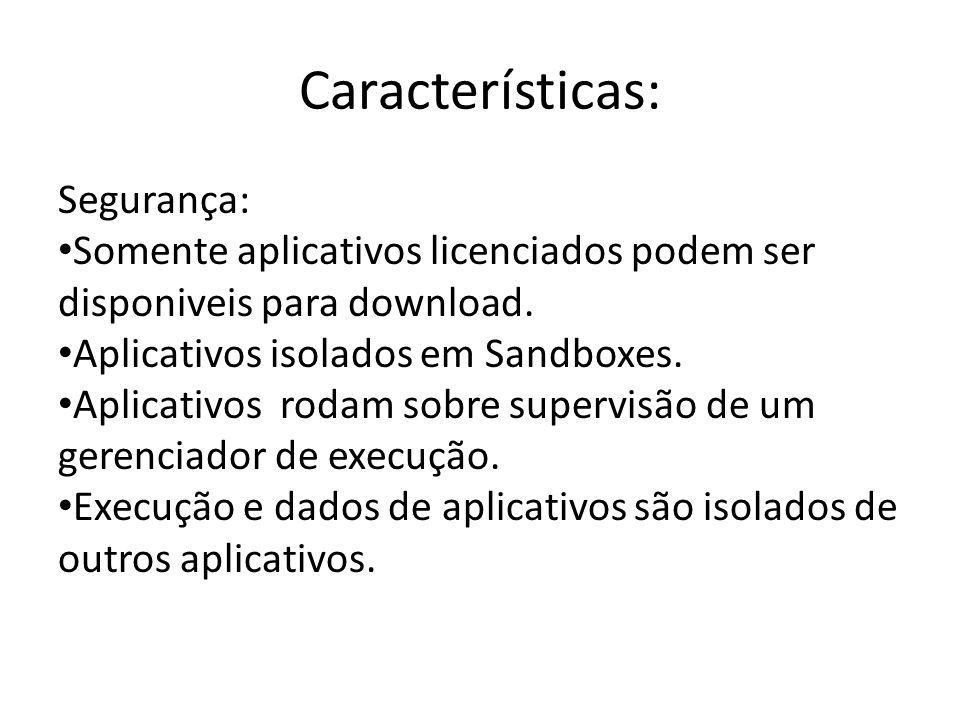 Características: Segurança: Somente aplicativos licenciados podem ser disponiveis para download. Aplicativos isolados em Sandboxes. Aplicativos rodam
