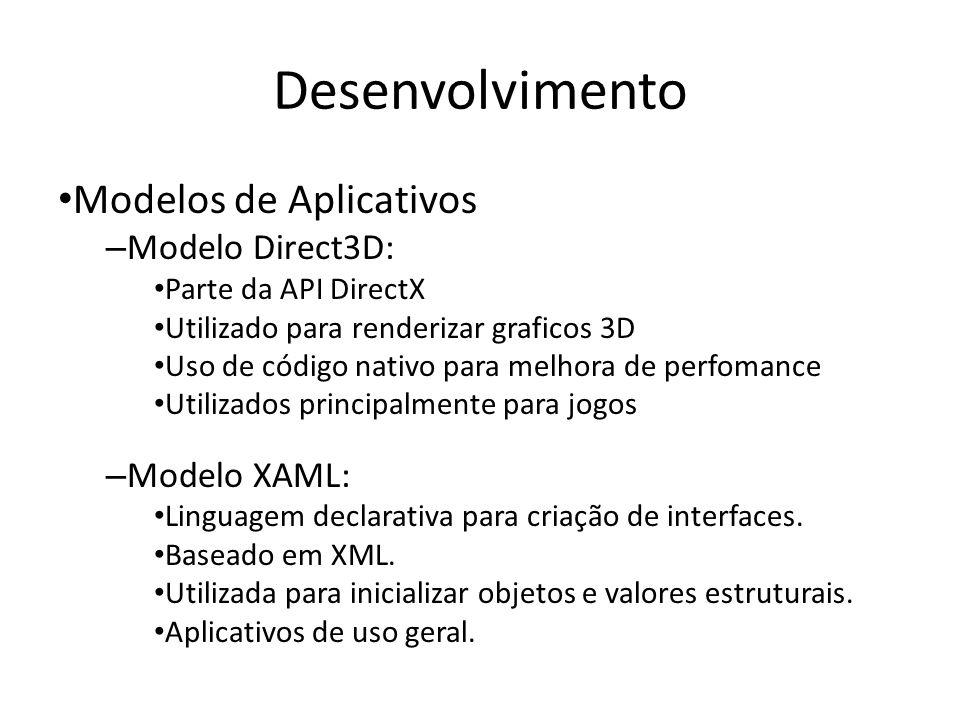 Desenvolvimento Modelos de Aplicativos – Modelo Direct3D: Parte da API DirectX Utilizado para renderizar graficos 3D Uso de código nativo para melhora