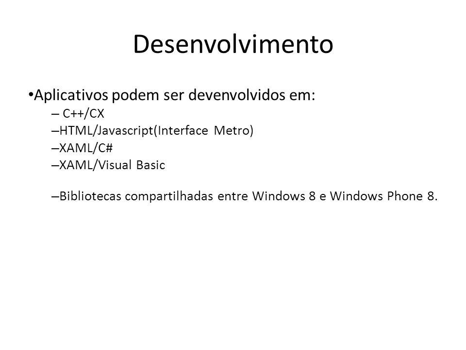 Desenvolvimento Aplicativos podem ser devenvolvidos em: – C++/CX – HTML/Javascript(Interface Metro) – XAML/C# – XAML/Visual Basic – Bibliotecas compar