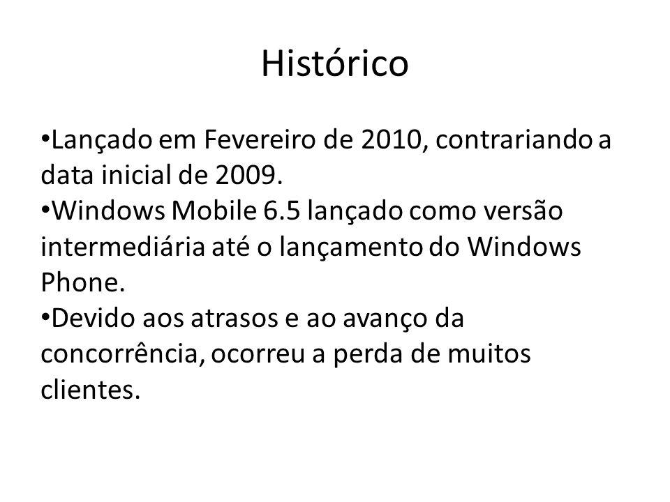 Histórico Lançado em Fevereiro de 2010, contrariando a data inicial de 2009. Windows Mobile 6.5 lançado como versão intermediária até o lançamento do