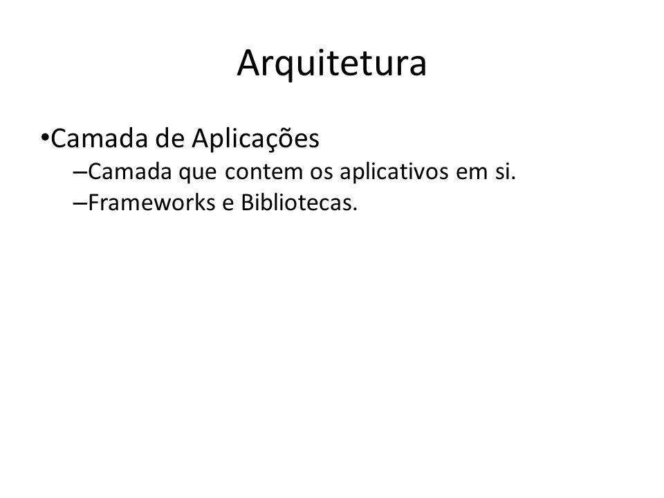 Arquitetura Camada de Aplicações – Camada que contem os aplicativos em si. – Frameworks e Bibliotecas.