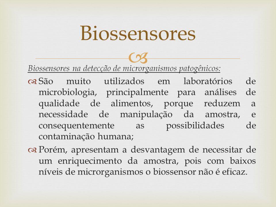 Biossensores Biossensores na detecção de microrganismos patogênicos: São muito utilizados em laboratórios de microbiologia, principalmente para anális
