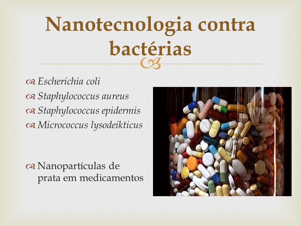 Nanotecnologia contra bactérias Escherichia coli Staphylococcus aureus Staphylococcus epidermis Micrococcus lysodeikticus Nanopartículas de prata em m
