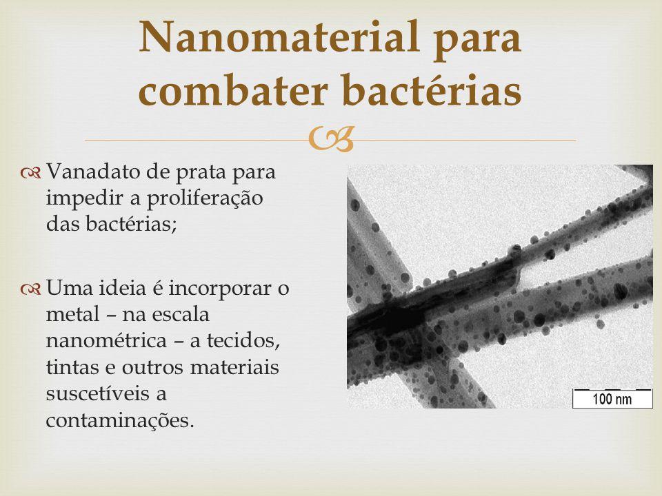 Nanomaterial para combater bactérias Vanadato de prata para impedir a proliferação das bactérias; Uma ideia é incorporar o metal – na escala nanométri
