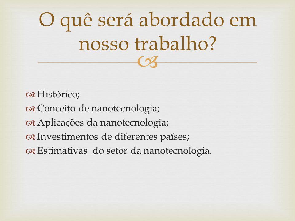 Histórico; Conceito de nanotecnologia; Aplicações da nanotecnologia; Investimentos de diferentes países; Estimativas do setor da nanotecnologia. O quê