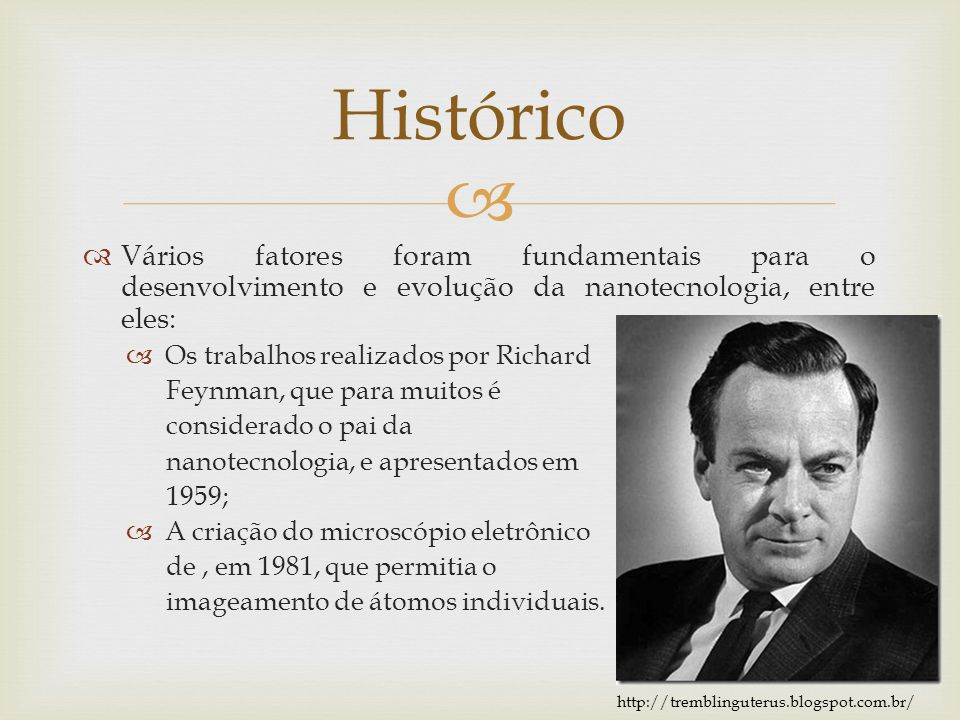 Vários fatores foram fundamentais para o desenvolvimento e evolução da nanotecnologia, entre eles: Os trabalhos realizados por Richard Feynman, que pa