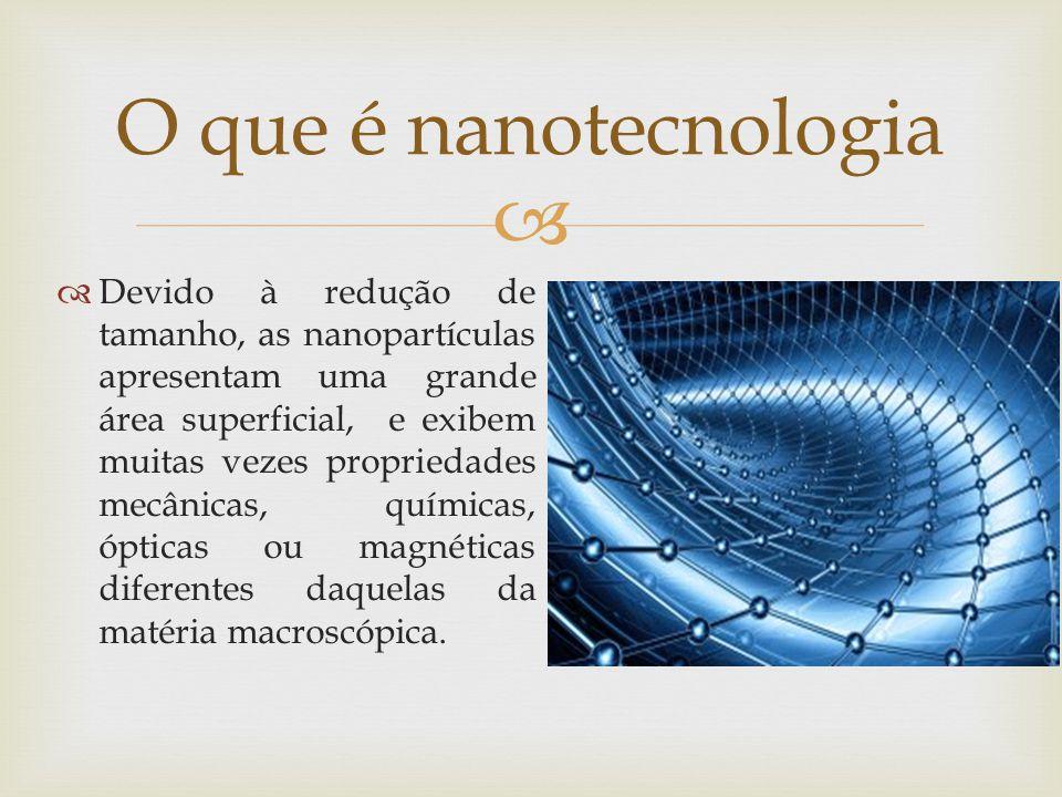 Devido à redução de tamanho, as nanopartículas apresentam uma grande área superficial, e exibem muitas vezes propriedades mecânicas, químicas, ópticas