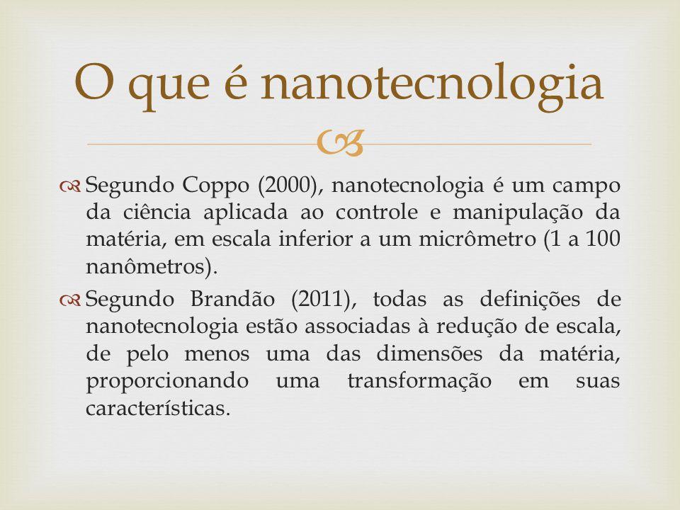 Segundo Coppo (2000), nanotecnologia é um campo da ciência aplicada ao controle e manipulação da matéria, em escala inferior a um micrômetro (1 a 100