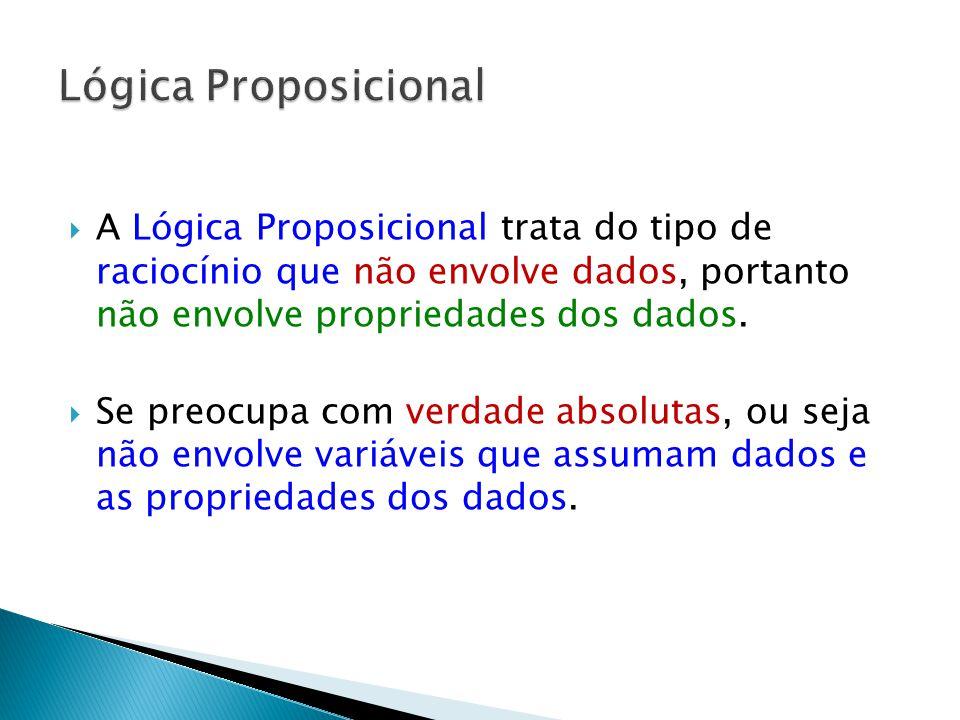 A Lógica Proposicional trata do tipo de raciocínio que não envolve dados, portanto não envolve propriedades dos dados.