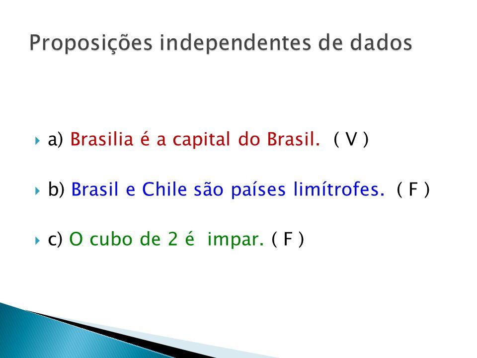 a) Brasilia é a capital do Brasil.( V ) b) Brasil e Chile são países limítrofes.