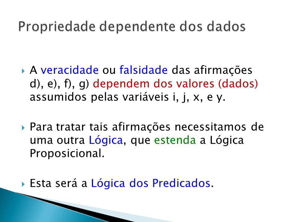 A veracidade ou falsidade das afirmações d), e), f), g) dependem dos valores (dados) assumidos pelas variáveis i, j, x, e y.