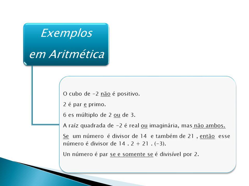 Exemplos em Aritmética O cubo de -2 não é positivo.