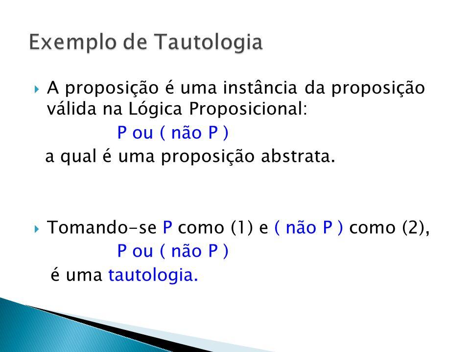 A proposição é uma instância da proposição válida na Lógica Proposicional: P ou ( não P ) a qual é uma proposição abstrata.