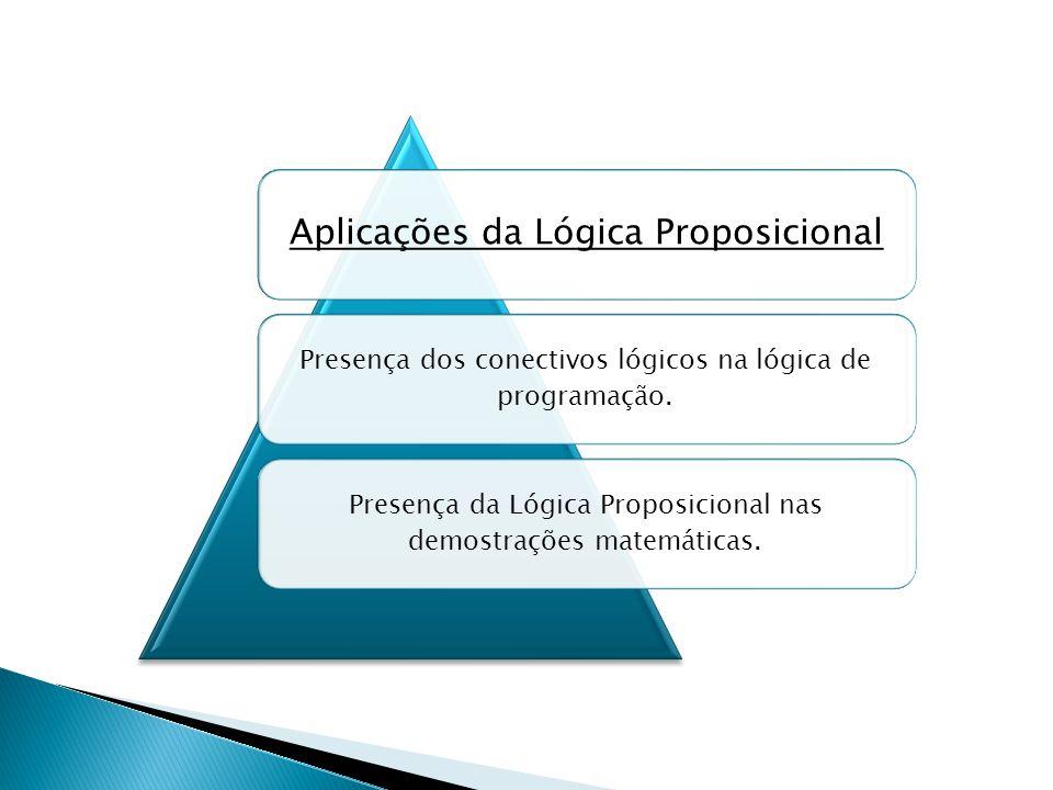 Aplicações da Lógica Proposicional Presença dos conectivos lógicos na lógica de programação.