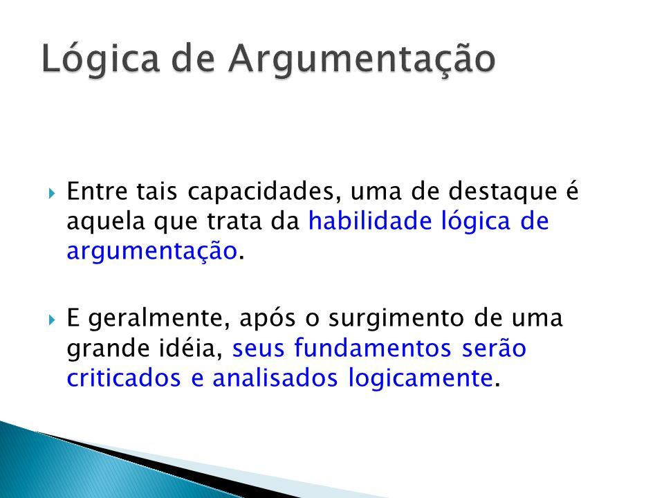 Entre tais capacidades, uma de destaque é aquela que trata da habilidade lógica de argumentação.