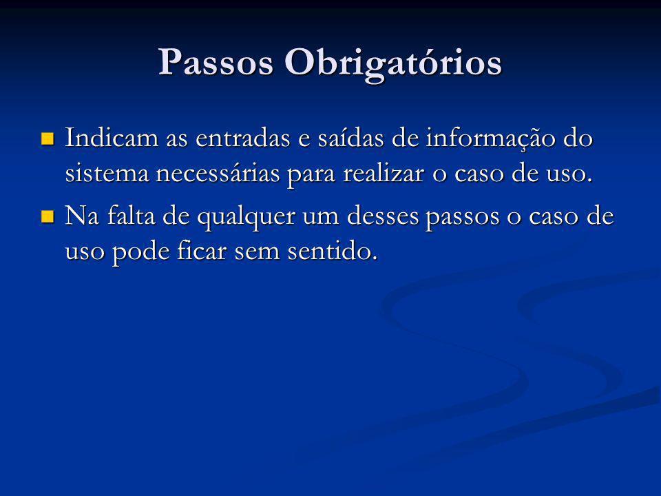 Passos Obrigatórios Indicam as entradas e saídas de informação do sistema necessárias para realizar o caso de uso. Indicam as entradas e saídas de inf