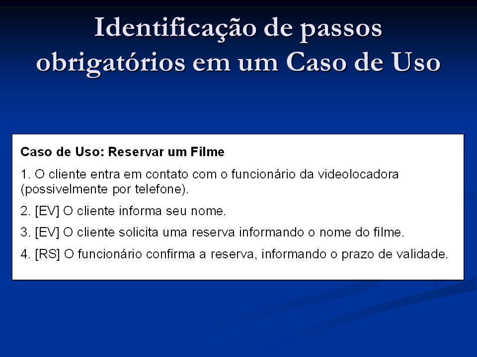 Identificação de passos obrigatórios em um Caso de Uso