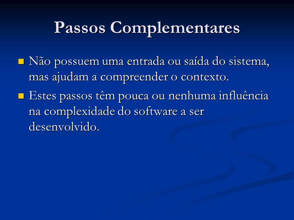 Passos Complementares Não possuem uma entrada ou saída do sistema, mas ajudam a compreender o contexto. Não possuem uma entrada ou saída do sistema, m