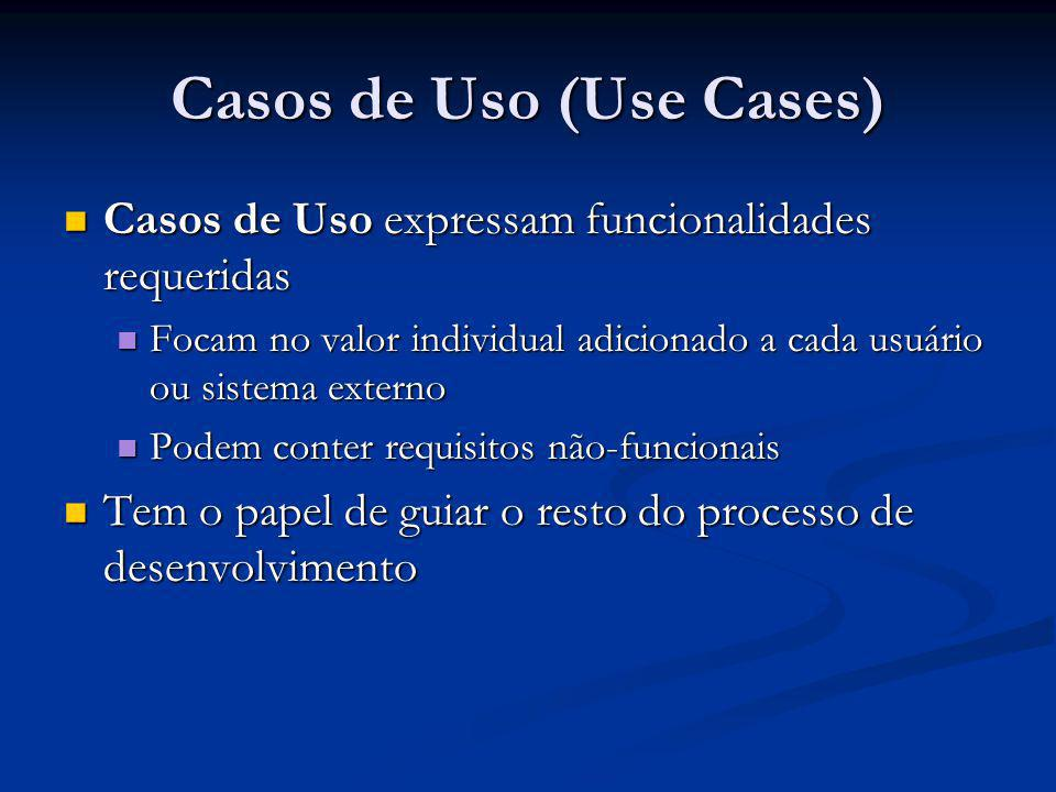 Casos de Uso (Use Cases) Casos de Uso expressam funcionalidades requeridas Casos de Uso expressam funcionalidades requeridas Focam no valor individual
