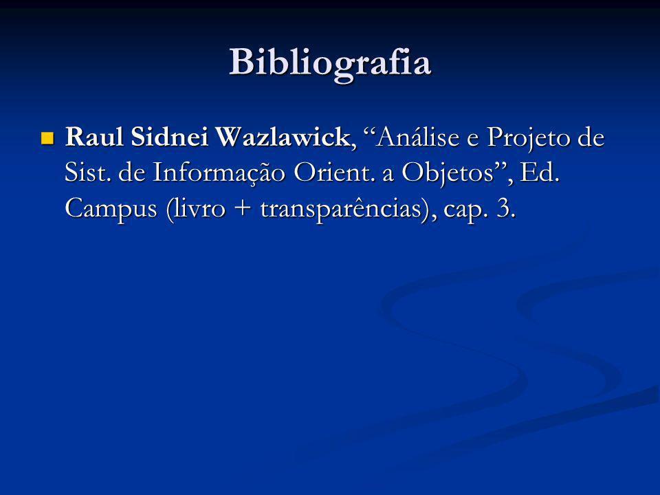 Bibliografia Raul Sidnei Wazlawick, Análise e Projeto de Sist. de Informação Orient. a Objetos, Ed. Campus (livro + transparências), cap. 3. Raul Sidn