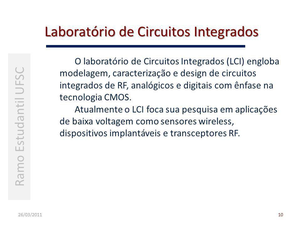 Laboratório de Circuitos Integrados 26/03/201110 Ramo Estudantil UFSC O laboratório de Circuitos Integrados (LCI) engloba modelagem, caracterização e design de circuitos integrados de RF, analógicos e digitais com ênfase na tecnologia CMOS.