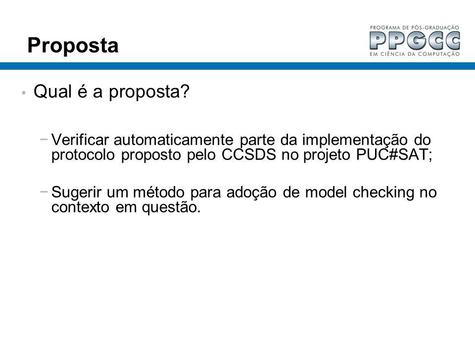Proposta Qual é a proposta? Verificar automaticamente parte da implementação do protocolo proposto pelo CCSDS no projeto PUC#SAT; Sugerir um método pa
