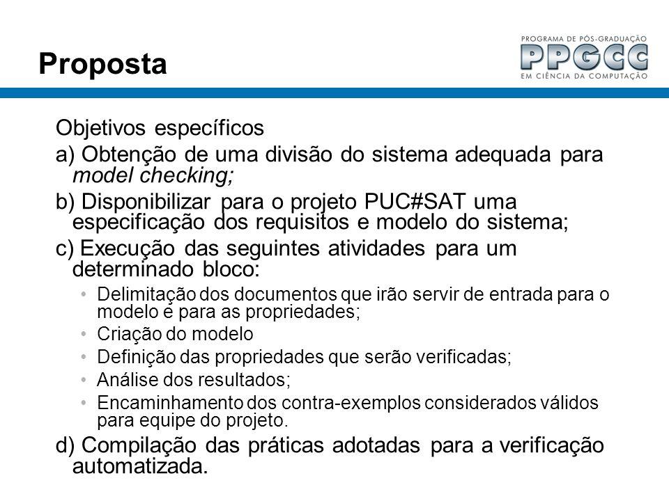 Proposta Objetivos específicos a) Obtenção de uma divisão do sistema adequada para model checking; b) Disponibilizar para o projeto PUC#SAT uma especi