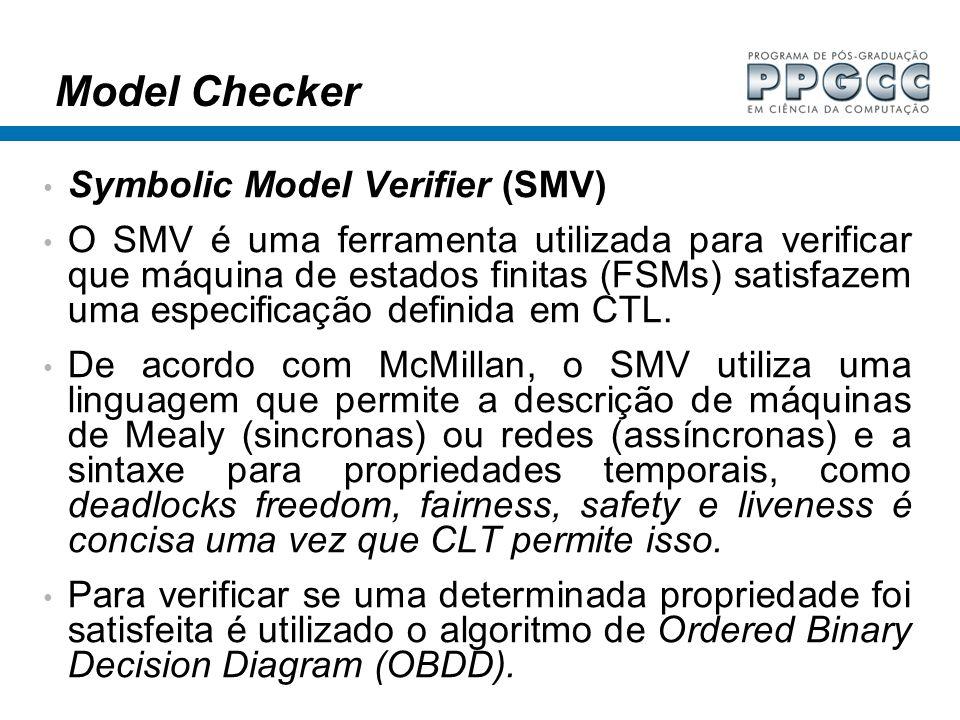 Model Checker Symbolic Model Verifier (SMV) O SMV é uma ferramenta utilizada para verificar que máquina de estados finitas (FSMs) satisfazem uma espec