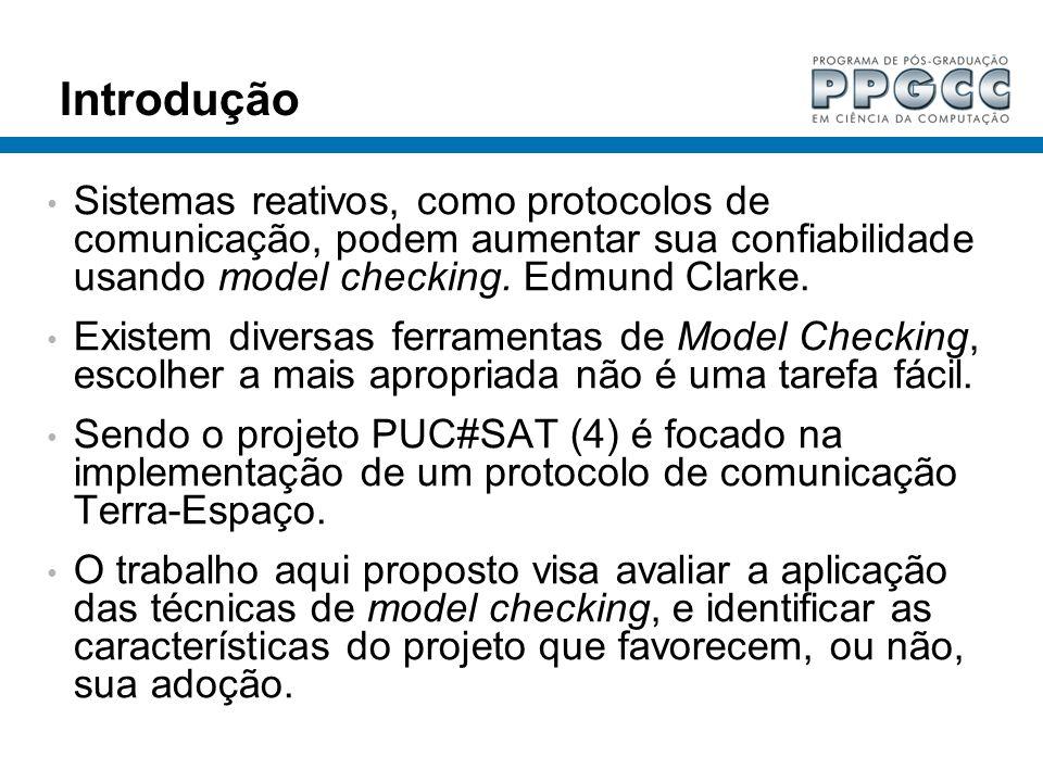 Introdução Sistemas reativos, como protocolos de comunicação, podem aumentar sua confiabilidade usando model checking. Edmund Clarke. Existem diversas
