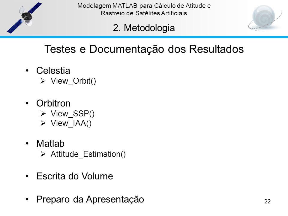 22 Modelagem MATLAB para Cálculo de Atitude e Rastreio de Satélites Artificiais 2.Metodologia Testes e Documentação dos Resultados Celestia View_Orbit