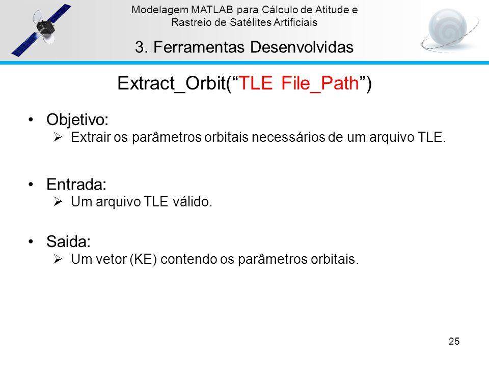 25 Modelagem MATLAB para Cálculo de Atitude e Rastreio de Satélites Artificiais 3.Ferramentas Desenvolvidas Extract_Orbit(TLE File_Path) Objetivo: Ext