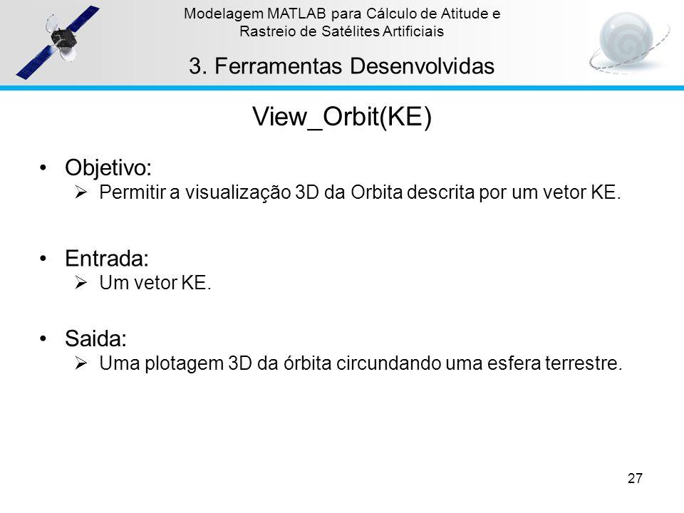 27 Modelagem MATLAB para Cálculo de Atitude e Rastreio de Satélites Artificiais 3.Ferramentas Desenvolvidas View_Orbit(KE) Objetivo: Permitir a visual