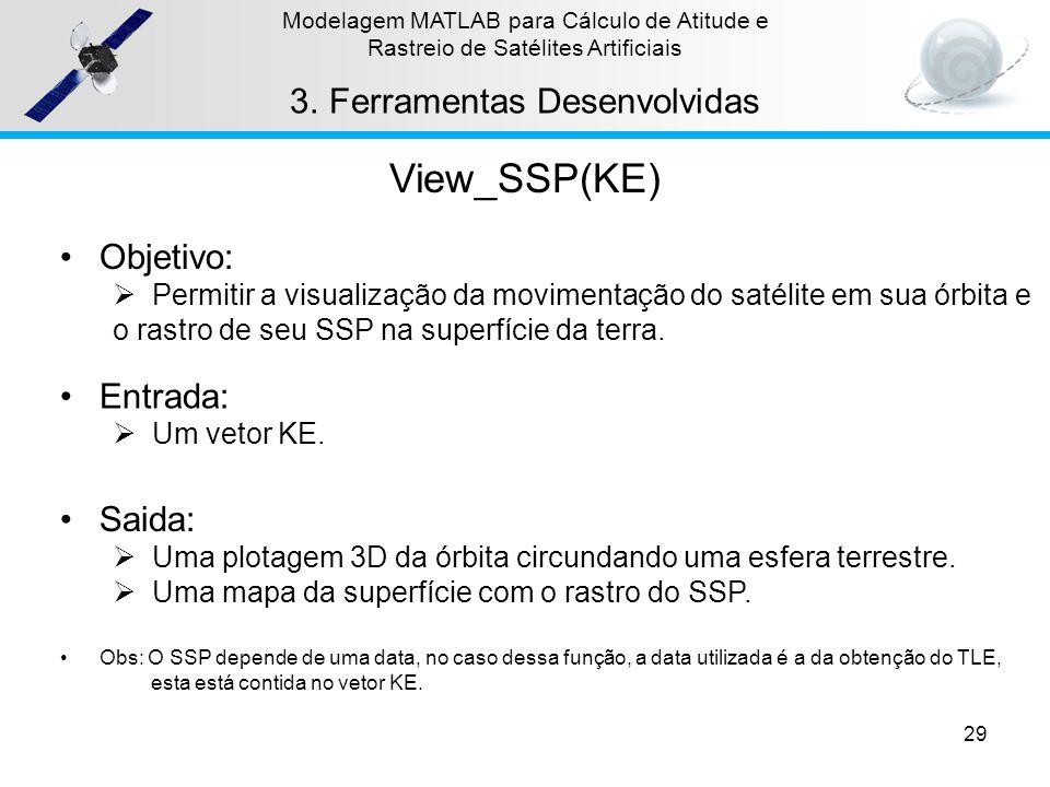 29 Modelagem MATLAB para Cálculo de Atitude e Rastreio de Satélites Artificiais 3.Ferramentas Desenvolvidas View_SSP(KE) Objetivo: Permitir a visualiz