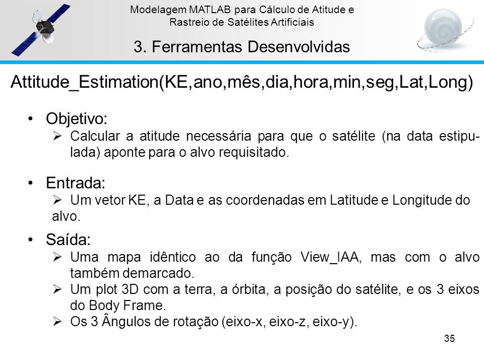 35 Modelagem MATLAB para Cálculo de Atitude e Rastreio de Satélites Artificiais 3.Ferramentas Desenvolvidas Attitude_Estimation(KE,ano,mês,dia,hora,mi