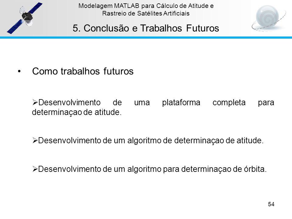 54 Modelagem MATLAB para Cálculo de Atitude e Rastreio de Satélites Artificiais 5.Conclusão e Trabalhos Futuros Como trabalhos futuros Desenvolvimento