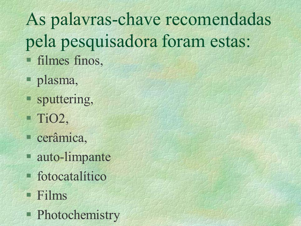 As palavras-chave recomendadas pela pesquisadora foram estas: §filmes finos, §plasma, §sputtering, §TiO2, §cerâmica, §auto-limpante §fotocatalítico §Films §Photochemistry