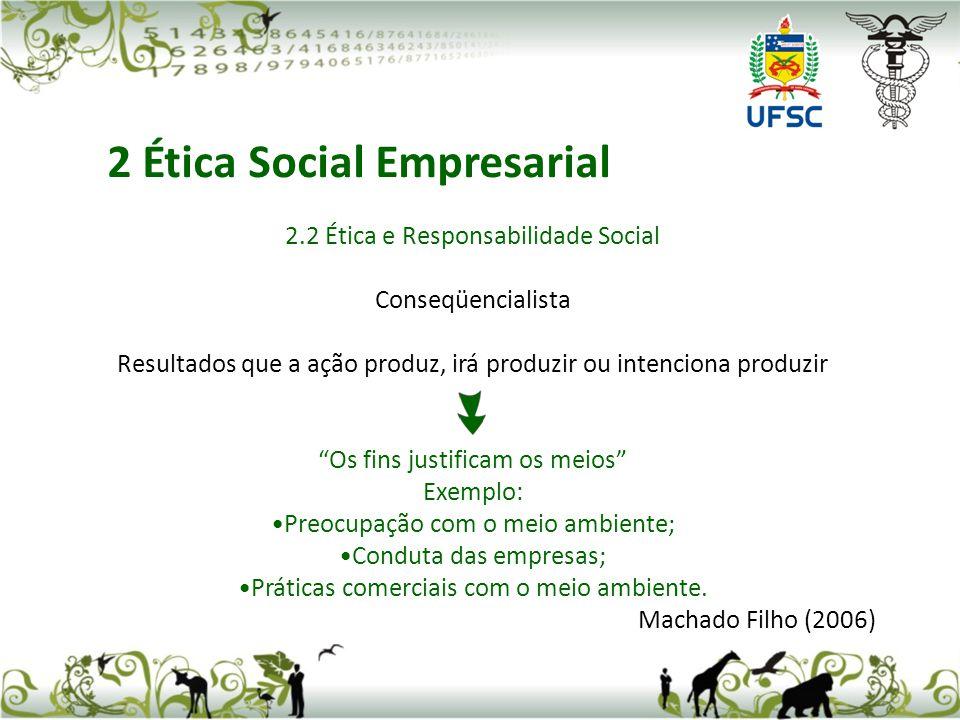 2.2 Ética e Responsabilidade Social Conseqüencialista Resultados que a ação produz, irá produzir ou intenciona produzir Os fins justificam os meios Ex
