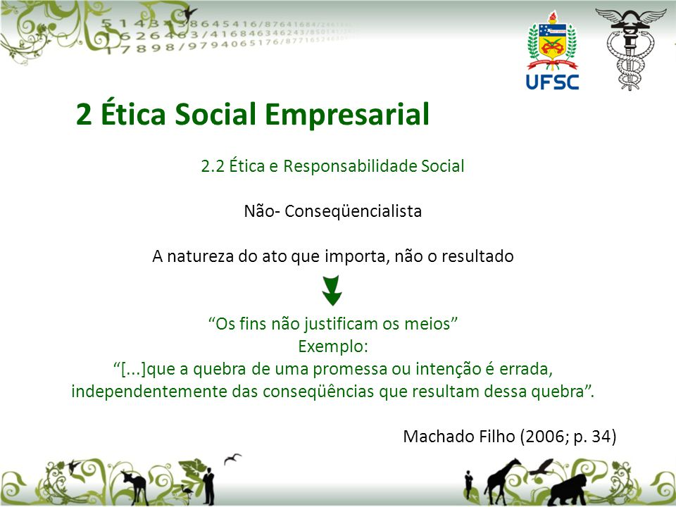 2.2 Ética e Responsabilidade Social Não- Conseqüencialista A natureza do ato que importa, não o resultado Os fins não justificam os meios Exemplo: [..