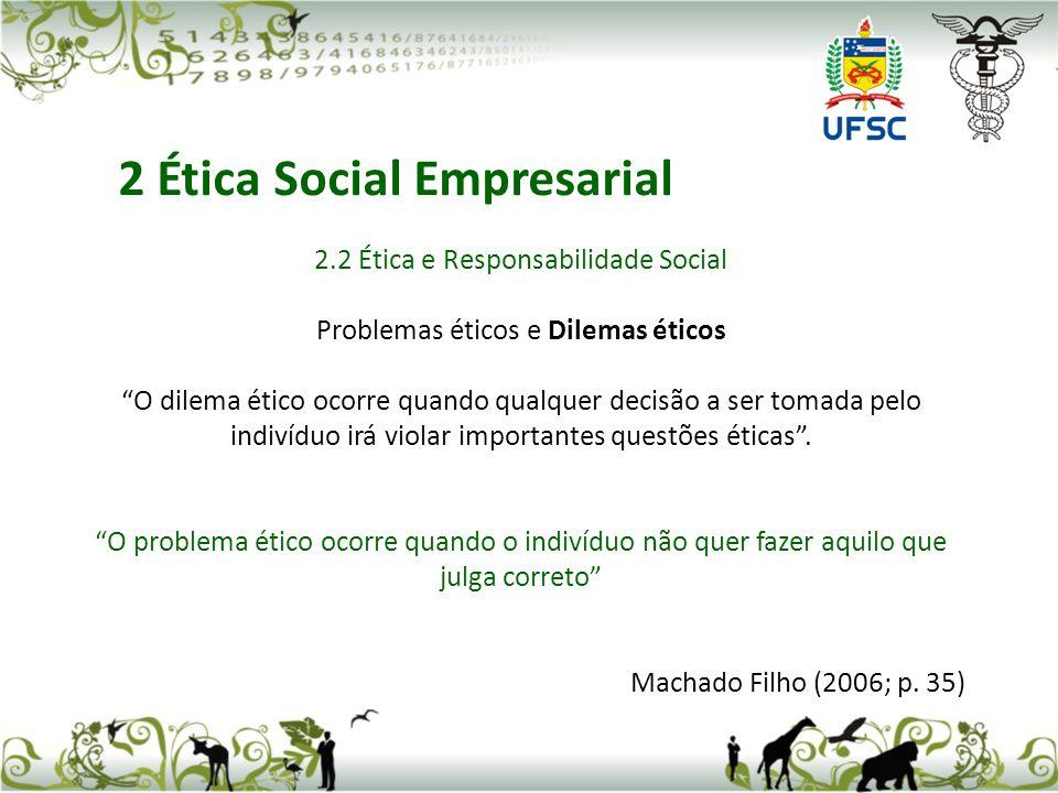 2.2 Ética e Responsabilidade Social Problemas éticos e Dilemas éticos O dilema ético ocorre quando qualquer decisão a ser tomada pelo indivíduo irá vi
