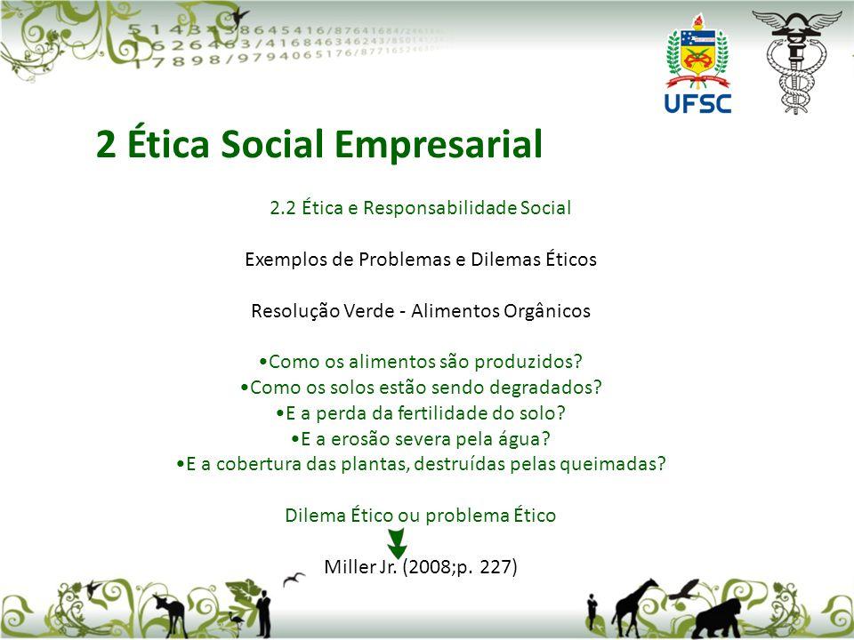 2.2 Ética e Responsabilidade Social Exemplos de Problemas e Dilemas Éticos Resolução Verde - Alimentos Orgânicos Como os alimentos são produzidos? Com