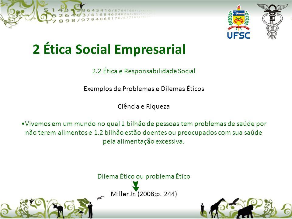 2.2 Ética e Responsabilidade Social Exemplos de Problemas e Dilemas Éticos Ciência e Riqueza Vivemos em um mundo no qual 1 bilhão de pessoas tem probl