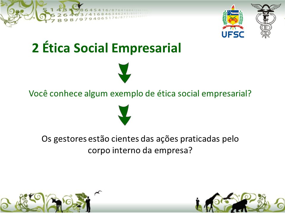 Você conhece algum exemplo de ética social empresarial? Os gestores estão cientes das ações praticadas pelo corpo interno da empresa? 2 Ética Social E