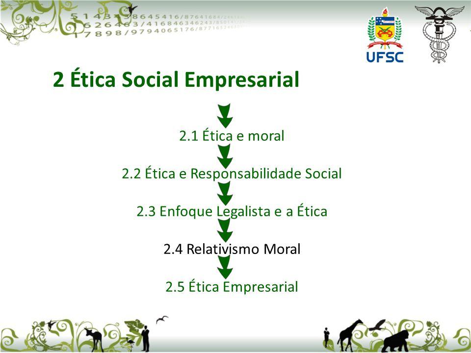 2.1 Ética e moral 2.2 Ética e Responsabilidade Social 2.3 Enfoque Legalista e a Ética 2.4 Relativismo Moral 2.5 Ética Empresarial 2 Ética Social Empresarial